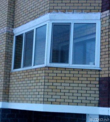Остекление балкона в 3 стекла 2 раб.створки от компании гефе.